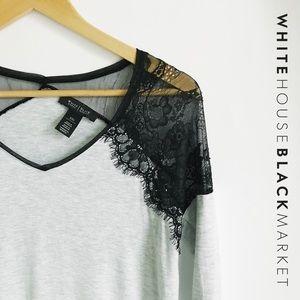WHITE HOUSE BLACK MARKET Gray Lace Long Sleeve Tee